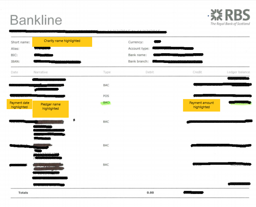 Sample Bank Statement The Big Give